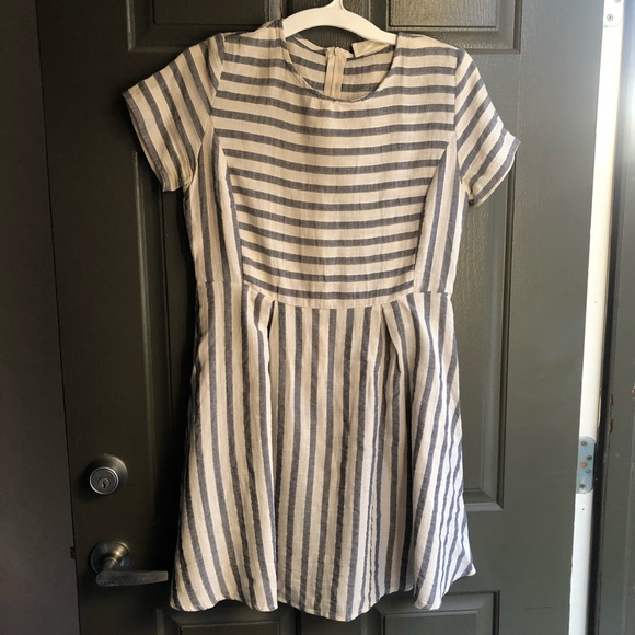 Anthropologie Dresses & Skirts - ETWO Gray and Ivory Striped Dress Size Small